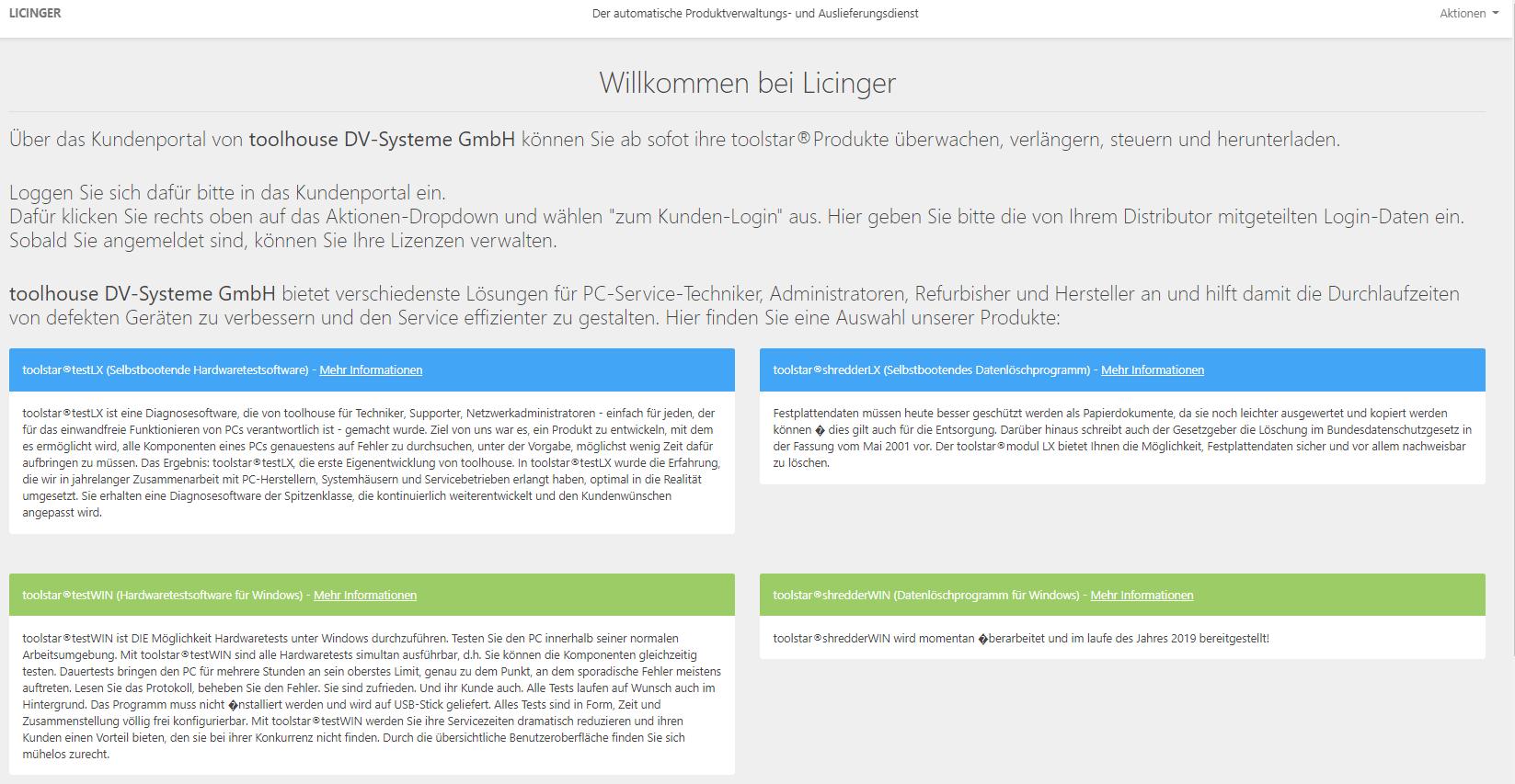 Kundenportal Licinger Startseite
